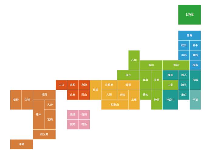 ローラーストーン認定施工店 全国加盟枠数状況